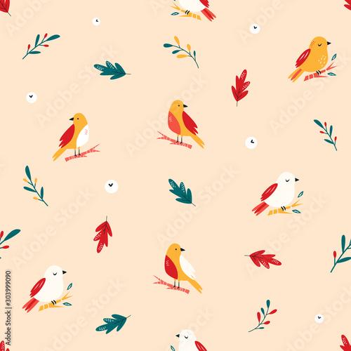 obraz lub plakat Seamless pattern with cute birds. Vector design