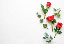 Red Roses And Eucalyptus