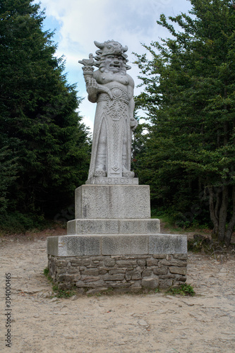 Photo The statue of the pagan god of Slavs Radegast on mountain Radhost - the god of the sun, abundance and harvest