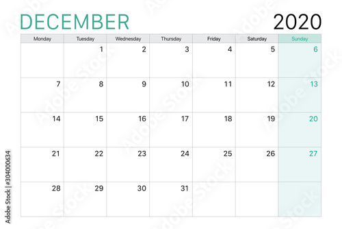Obraz 2020 December illustration vector desk calendar - fototapety do salonu