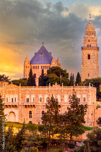 View of Church of Dormition on Mount Zion, Jerusalem, Israel Canvas Print
