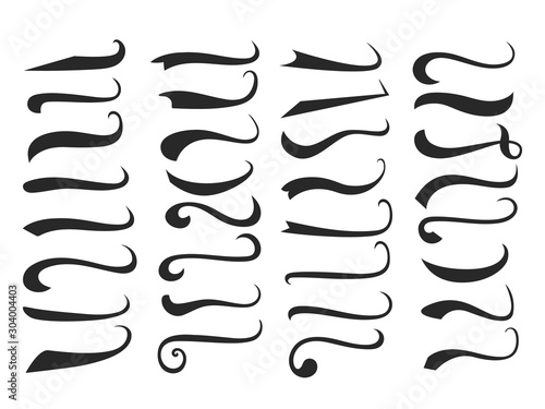 Pinturas sobre lienzo  Black text swooshes isolated vector design elements set