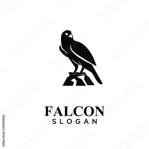 falcon black logo icon design vector illustration Fototapete