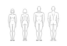 Figures Of Man And Woman. Vector Isolated Editable Template.