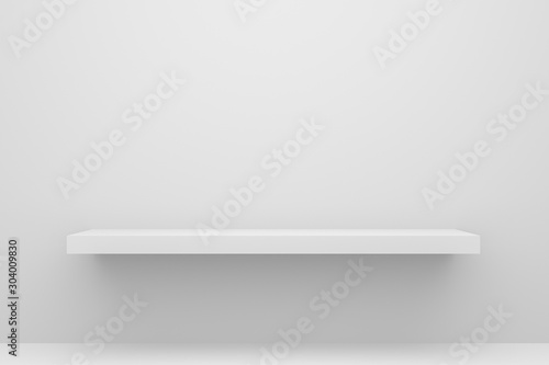 Front view of empty shelf on white table and wall background with modern minimal concept Wallpaper Mural