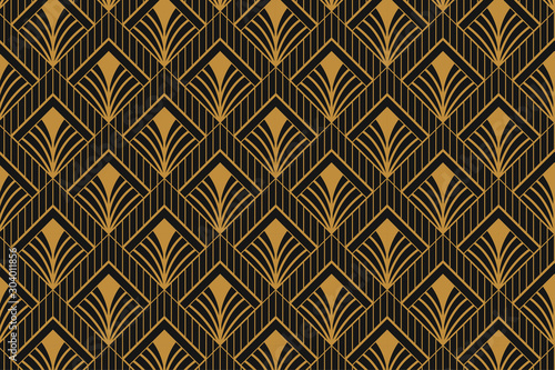 Modern Art Deco Abstract Geometric Seamless Pattern Luxury Line Art Beautiful Backdrop Design