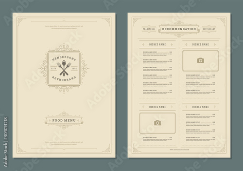 Fotomural  Restaurant menu design and label vector brochure template.