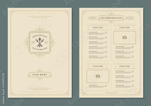 Restaurant menu design and label vector brochure template. Fototapete