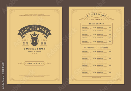 Obraz Coffee menu design brochure template vector Illustration - fototapety do salonu