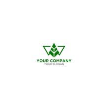 W Wood Tree Logo Design Vector