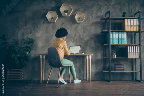 Obraz Full length back rear spine photo of smart clever afro american worker real estate agent sit table use laptop work enterprise presentation in office workplace loft - fototapety do salonu