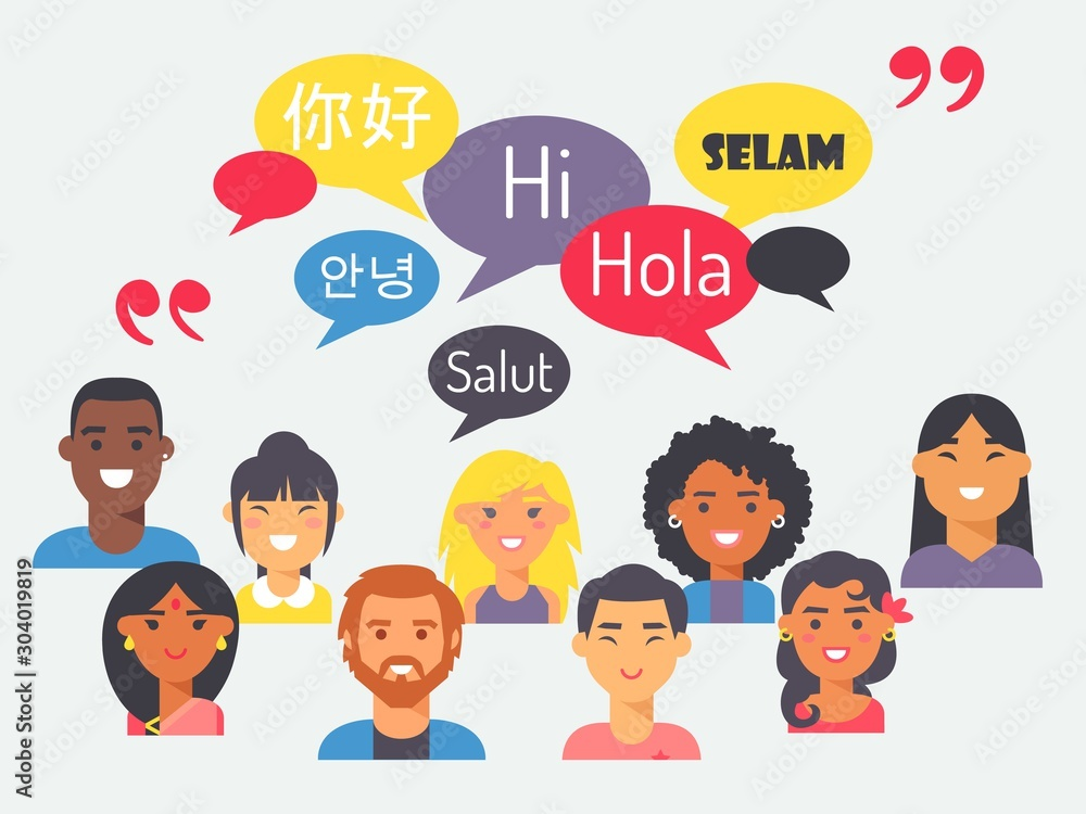 Fototapety, obrazy: People speak different languages, vector illustration. Flat style portraits of men and women from around the world with speech bubbles. Learn foreign language