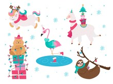 Christmas Animals Unicorn Flamingo Cat Sloth Collection Vector Illustration. Set Of Xmas Characters Wearing Cozy And Warm Sweaters In Winter Snowy Weather Flat Style Design. Happy Holidays Concept