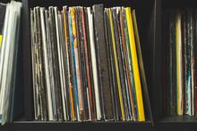 Wooden Shelf Full Of Vinyl Records