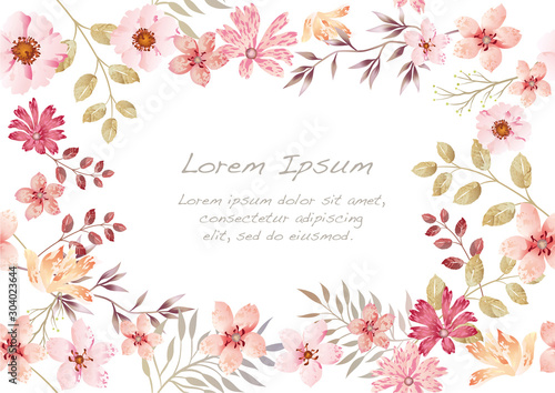 Fototapeta 水彩風 シームレスな花の背景 obraz