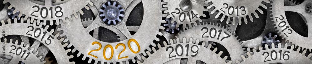 Fototapeta Metal Wheels with New Year 2020