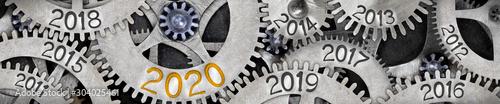 Fotografía  Metal Wheels with New Year 2020