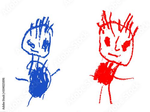 Fototapeta dziecięcy rysunek przedstwia dwie postacie w różnych kolorach obraz