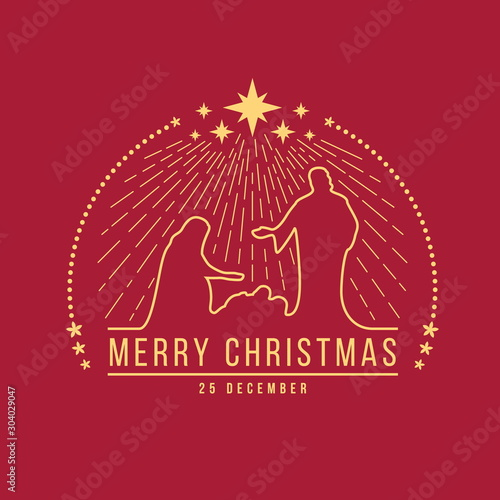 Merry Christmas banner sign with abstract gold line Nightly christmas scenery ma Canvas-taulu