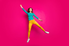 Full Length Body Size Photo Of Cheerful Positive Toothy Beaming Girlfriend Wearing White Sneakers Isolated Fuchsia Vibrant Color Background