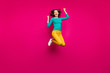 Leinwanddruck Bild - Full length body size photo of cheerful nice charming pretty girlfriend jumping up excited overjoyed wearing white footwear isolated vivid fuchsia color background