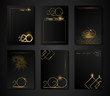 Set of Flyer, poster, banner, brochure design templates for Happy new year 2020. black and gold colors. Christmas theme, fireworks, glitter, candles, golden geometric elements. Perfect for invitation