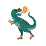 Fototapeta Dinusie - Dinosaur on roller skates with ice cream. Roar. Vector illustration.