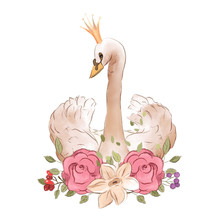 Beautiful Hand Drawn Watercolor Dreaming Princess Swan In Crown With Rose Flowers, Floral Bouquet
