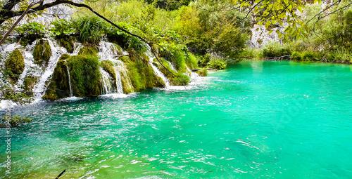 Poster Vert corail Waterfall in Plitivice national park, Croatia.