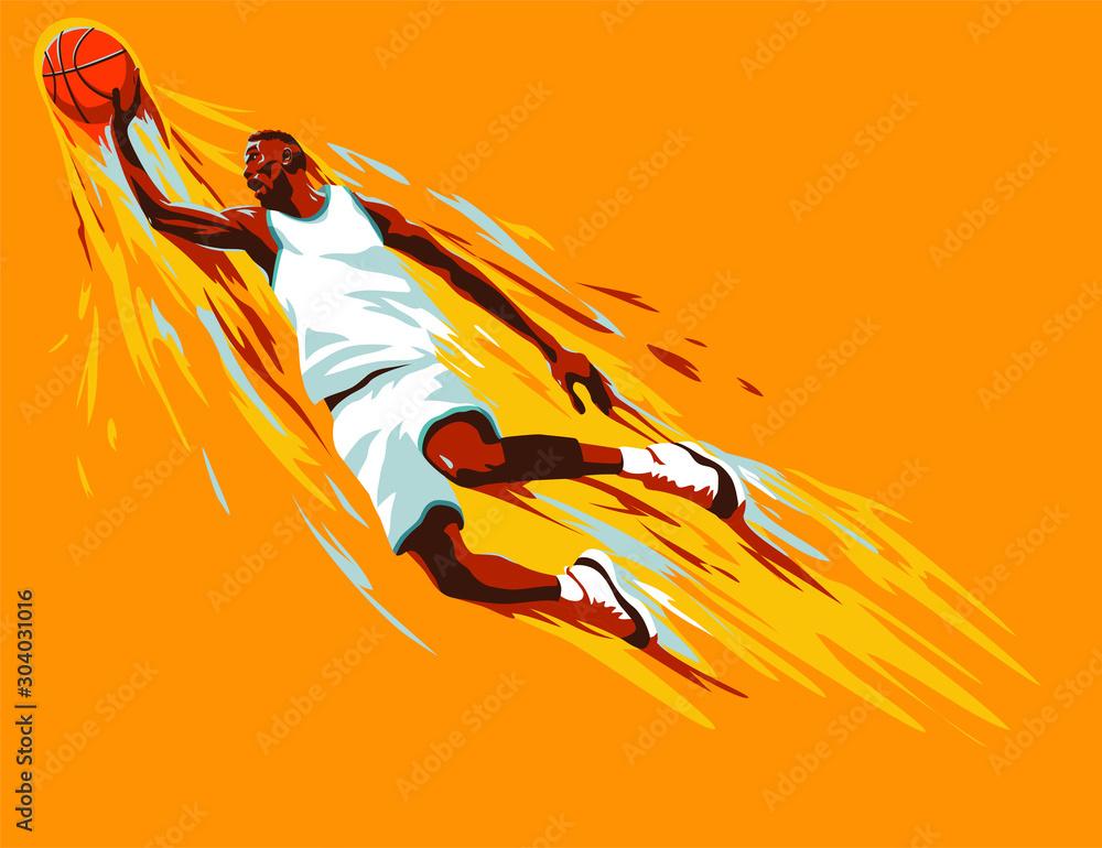 Czarny koszykarz, który rzuca piłkę w skoku na farbie plamy tło