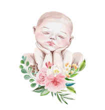 Cute Watercolor Newborn Baby Girl With Floral Wreath, Flowers Bouquet