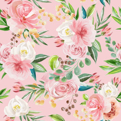 Beautiful floral seamless, tileable, watercolor pattern roses and peonies on ...