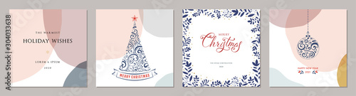Obraz Merry Christmas greeting cards. Trendy abstract square Winter Holidays art templates. - fototapety do salonu