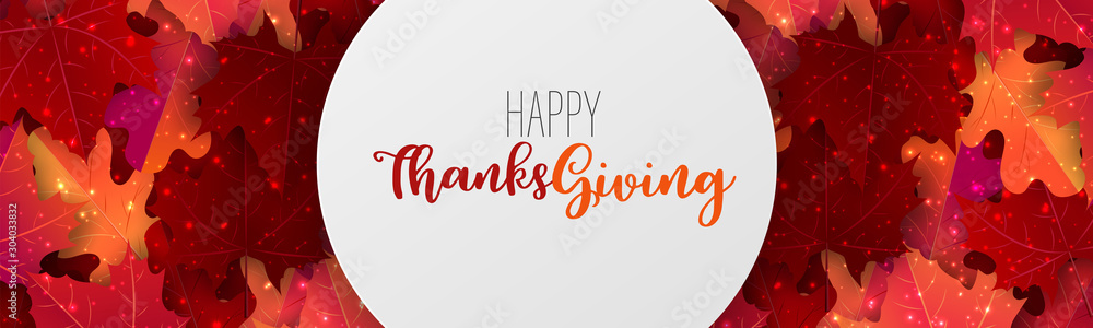 Fototapety, obrazy: Thanksgiving sale banner, website header or newsletter cover. Red and orange fall leaves realistic vector illustration with lettering.