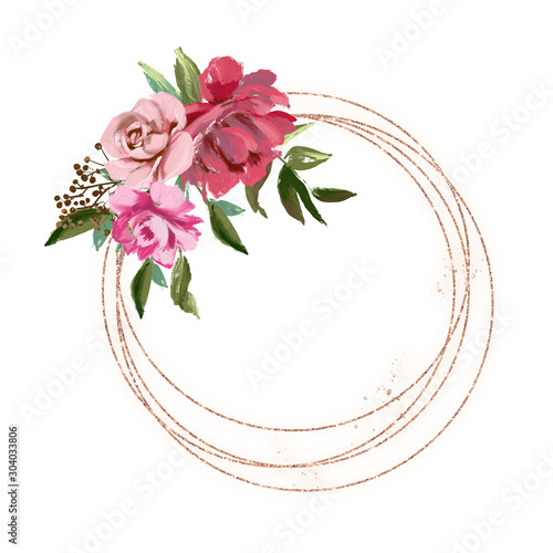 Beautiful golden glitter circle frame with oil painted rose and peony flowers Canvas Print