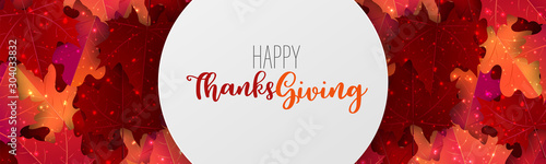 Thanksgiving sale banner, website header or newsletter cover. Red and orange fall leaves realistic vector illustration with lettering. - 304033832