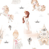 Cute girl, princess seamless, tileable pattern - princesses, unicorns, magic castle, birds and crowns on white background