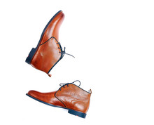 Luxurious Male Brown Male Shoes Isolated On The White Background
