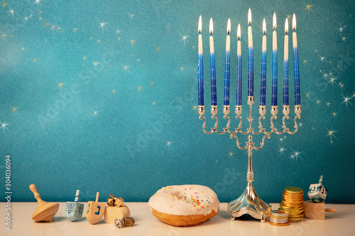 Obraz na plátně concept of of jewish religious holiday hanukkah with glittering raditional chand
