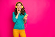 Leinwanddruck Bild - Photo of curly wavy cheerful positive nice pretty cute charming gorgeous girlfriend expressing amazement on face holding telephone isolated pink vivid color background