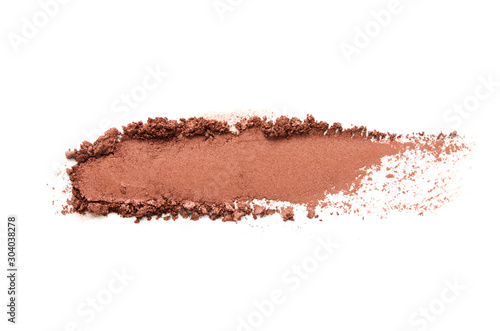 Obraz Eyeshadow sample isolated on white background. Crushed brown metallic eyeshadow. The concept of fashion and beauty industry. - Image - fototapety do salonu