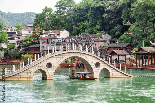 Amazing bridge over the Tuojiang River in Phoenix Ancient Town Wallpaper Mural