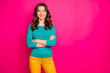 canvas print picture - Photo of charming pretty girlfriend smiling toothily beaming with arms crossed isolated over pink vivid color background