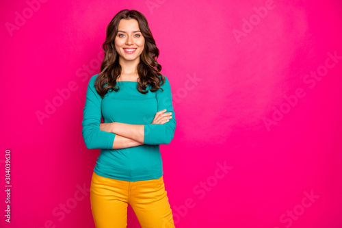 Photo of charming pretty girlfriend smiling toothily beaming with arms crossed isolated over pink vivid color background