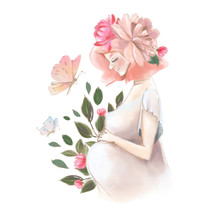 Beautiful Pregnant Woman With Flowers And Butterfly Watercolor Illustration