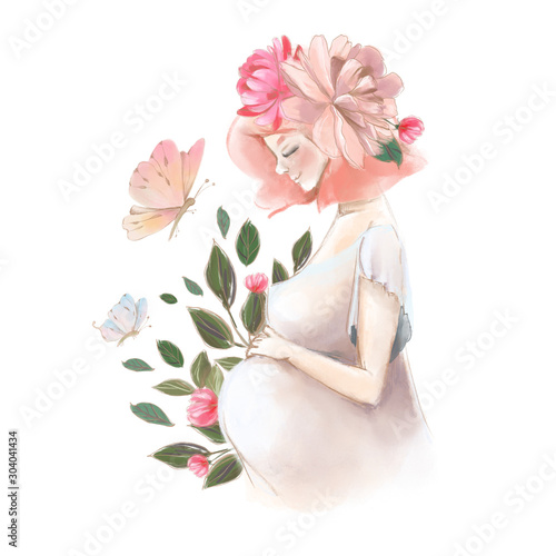 Beautiful pregnant woman with flowers and butterfly watercolor illustration Canvas Print