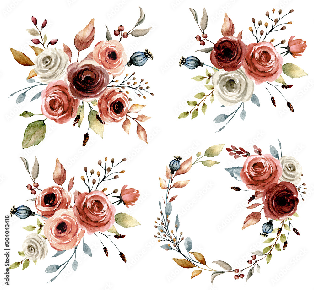 Fototapeta Set with watercolor flowers roses, leaf. Floral illustration perfectly for greetings card, wedding invitation, poster, stickers and other printing. Isolation on white background. Hand painting.