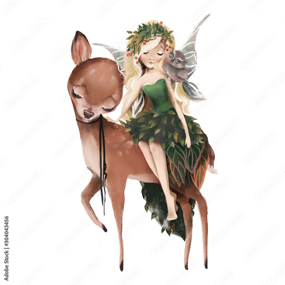 Fototapeta Cute hand drawn fairy with owl in floral wreath, sitting on deer, fawn, woodland watercolor illustration