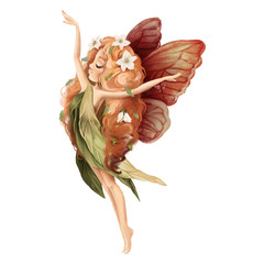 Cute hand drawn fairy with owl in floral wreath, flowers bouquet, woodland watercolor illustration