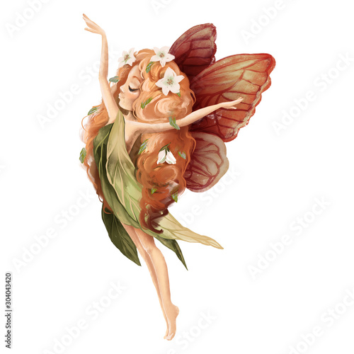 Fotografia Cute hand drawn fairy with owl in floral wreath, flowers bouquet, woodland water